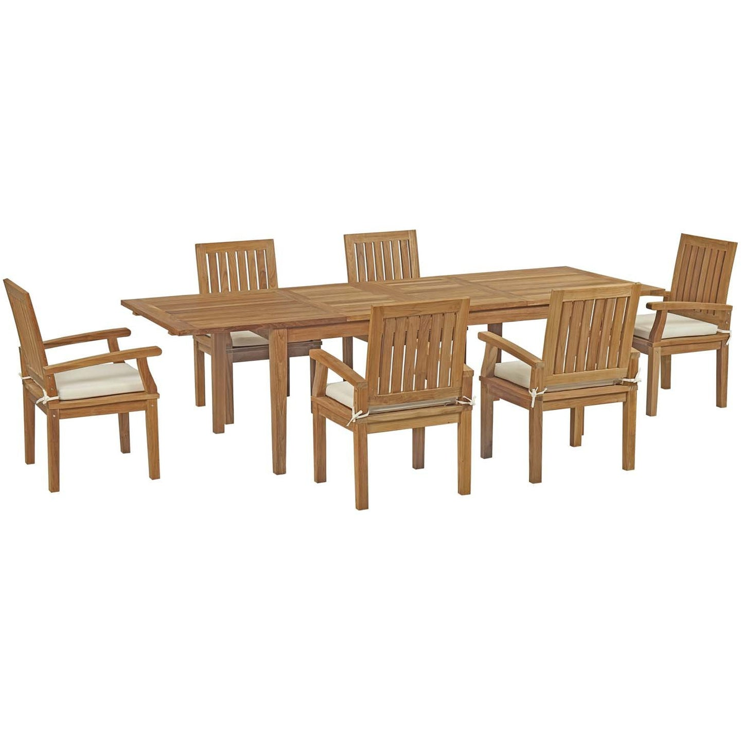 Modway Furniture Modern Marina 7 Piece Outdoor Patio Teak Outdoor Dining Set - EEI-3279