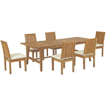 Modway Furniture Modern Marina 7 Piece Outdoor Patio Teak Outdoor Dining Set - EEI-3307