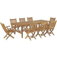 Modway Furniture Modern Marina 9 Piece Outdoor Patio Teak Outdoor Dining Set - EEI-3314