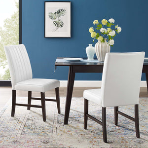 Modway Furniture Modern Motivate Channel Tufted Upholstered Faux Leather Dining Chair Set of 2 - EEI-3334