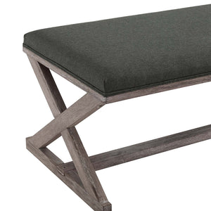 Modway Furniture Modern Province Vintage French X-Brace Upholstered Fabric Bench - EEI-3371