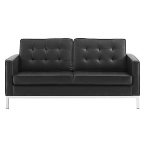 Modway Furniture Modern Loft Tufted Upholstered Faux Leather Loveseat - EEI-3388