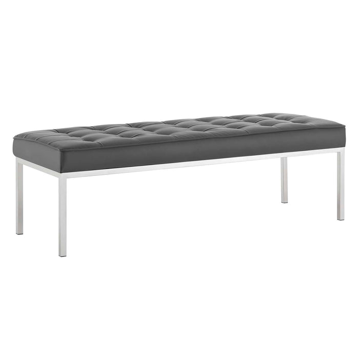 Modway Furniture Modern Loft Tufted Large Upholstered Faux Leather Bench - EEI-3397