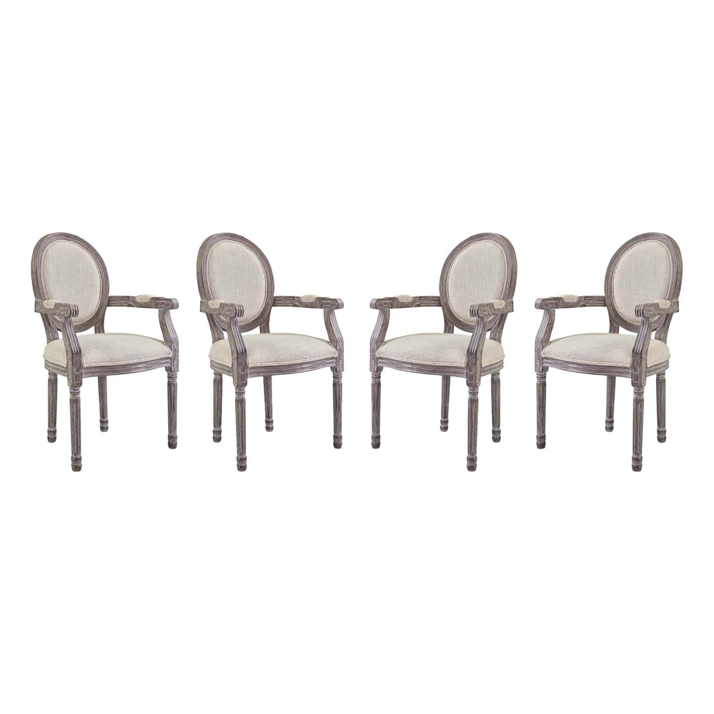 Modway Furniture Modern Emanate Dining Armchair Upholstered Fabric Set of 4 - EEI-3466