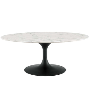 "Modway Furniture Modern Lippa 42"" Oval-Shaped Artificial Marble Coffee Table - EEI-3534"