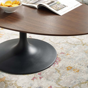 "Modway Furniture Modern Lippa 48"" Oval-Shaped Walnut Coffee Table - EEI-3538"