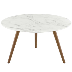"Modway Furniture Modern Lippa 28"" Round Artificial Marble Coffee Table with Tripod Base - EEI-3660"