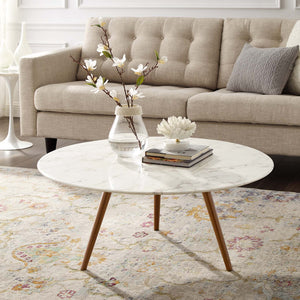 "Modway Furniture Modern Lippa 36"" Round Artificial Marble Coffee Table with Tripod Base - EEI-3661"