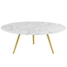"Modway Furniture Modern Lippa 40"" Round Artificial Marble Coffee Table with Tripod Base - EEI-3672"
