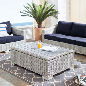"Modway Furniture Modern Conway 45"" Outdoor Patio Wicker Rattan Coffee Table - EEI-3982"