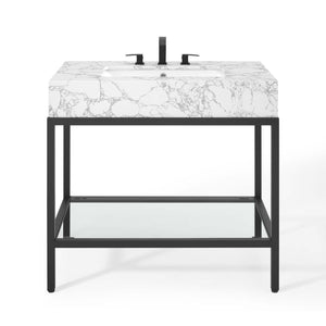 "Modway Furniture Modern Kingsley 36"" Black Stainless Steel Bathroom Vanity - EEI-3998"