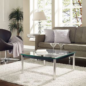 Modway Furniture Modern Metal and Glass Charles Side Table in Black EEI-571-BLK-Minimal & Modern