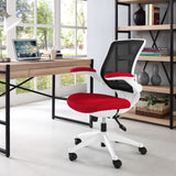 Modway Modern Edge White Base Adjustable Computer Office Chair - Minimal & Modern - 8
