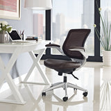 Modway Modern Edge Leather Adjustable Computer Office Chair - Minimal & Modern - 8