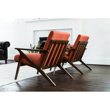Edloe Finch Adalyn Mid-Century Modern Accent Chair in Red Orange
