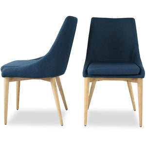 Edloe Finch Jessica Contemporary Dining Chair in Blue, Set of 2
