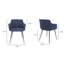Moe's Home Collection Ronda Arm Chair Blue-Set of Two - EJ-1016-26