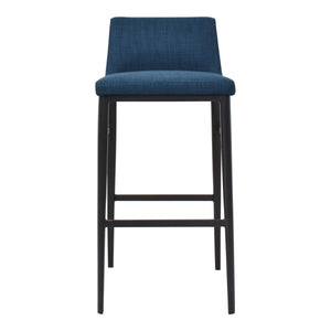 Moe's Home Collection Baron Barstool Blue - EJ-1032-26 - Moe's Home Collection - Bar Stools - Minimal And Modern - 1