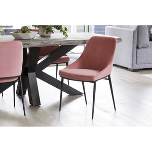 Moe's Home Collection Sedona Dining Chair Pink Velvet-Set of Two - EJ-1034-33 - Moe's Home Collection - Dining Chairs - Minimal And Modern - 1