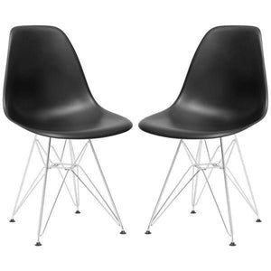 Edgemod Modern Padget Side Chair Chrome Base (Set of 2)-Minimal & Modern