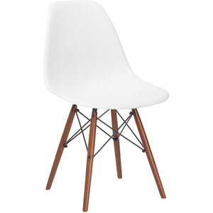 Lanna Furniture Finne Side Chair Walnut Legs (Set of 4) White, Dining Chairs - Lanna Furniture, Minimal & Modern - 1