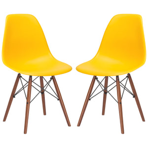 Lanna Furniture Finne Side Chair Walnut Legs (Set of 2) Yellow, Dining Chairs - Lanna Furniture, Minimal & Modern - 42