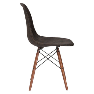 Lanna Furniture Woven Belo Dining Chair with Walnut Legs-Minimal & Modern