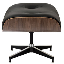 Lanna Furniture Rivera Eames Lounge Chair and Ottoman in Italian Black Leather-Minimal & Modern