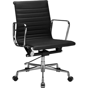 Lanna Furniture Estey Mid Back Office Chair with Italian Leather Black, Office Chairs - Lanna Furniture, Minimal & Modern - 1