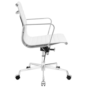 Lanna Furniture Estey Mid Back Office Chair with Italian Leather-Minimal & Modern