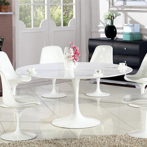 "Edgemod Modern Daisy 60"" Wood Top Dining Table in White-Minimal & Modern"