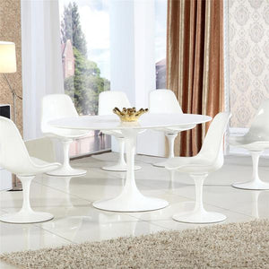 "Edgemod Modern Daisy 60"" Oval Wood Top Dining Table in White-Minimal & Modern"