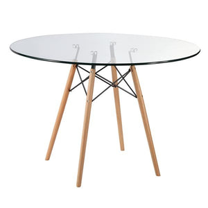 "Edgemod Modern Vortex 42.5"" Glass Top Dining Table with Natural Legs , Dining Tables - Edgemod Furniture, Minimal & Modern - 2"