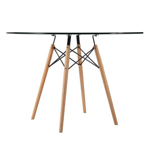 "Edgemod Modern Vortex 42.5"" Glass Top Dining Table with Natural Legs , Dining Tables - Edgemod Furniture, Minimal & Modern - 4"