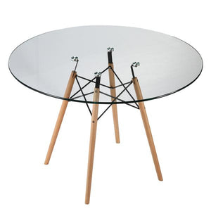 "Edgemod Modern Vortex 42.5"" Glass Top Dining Table with Natural Legs EM-216-NAT-Minimal & Modern"