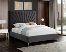 Meridian Furniture Eclipse Grey Velvet Full Bed