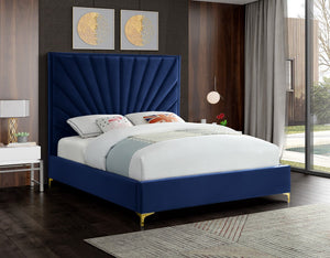 Meridian Furniture Eclipse Navy Velvet Full Bed
