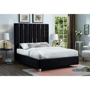 Meridian Furniture Enzo Black Velvet Full Bed-Minimal & Modern