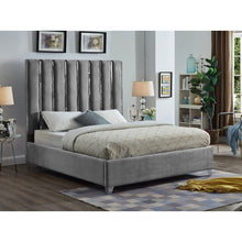 Meridian Furniture Enzo Grey Velvet Queen Bed-Minimal & Modern