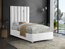 Meridian Furniture Enzo White Velvet Twin Bed