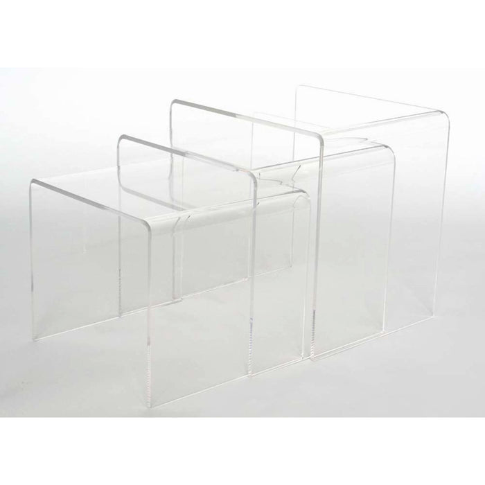 Baxton Studio Acrylic Nesting Table 3-Pc Table Set Display Stands Baxton Studio-coffee tables-Minimal And Modern - 1