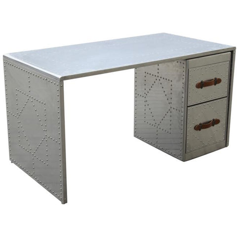 Finemod Imports Modern Riveted Desk in Silver , Desks - Finemod Imports, Minimal & Modern - 1