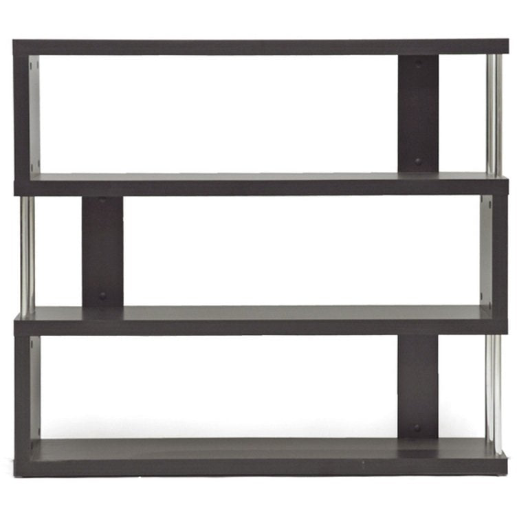 Baxton Studio Barnes Dark Brown Three-Shelf Modern Bookcase  Baxton Studio--Minimal And Modern - 1