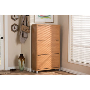 Baxton Studio Simms Maple Modern Shoe Cabinet Baxton Studio--Minimal And Modern - 4