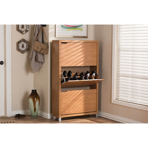 Baxton Studio Simms Maple Modern Shoe Cabinet Baxton Studio--Minimal And Modern - 5