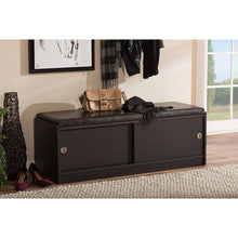 Baxton Studio Clevedon Modern and Contemporary Dark Brown Wood Entryway Storage Cushioned Bench Shoe Rack Cabinet Organizer Baxton Studio--Minimal And Modern - 5
