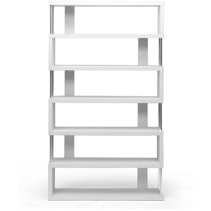 Baxton Studio Barnes White Six-Shelf Modern Bookcase Baxton Studio--Minimal And Modern - 1