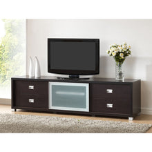 Baxton Studio Botticelli Brown Modern TV Stand with Frosted Glass Door Baxton Studio-TV Stands-Minimal And Modern - 3