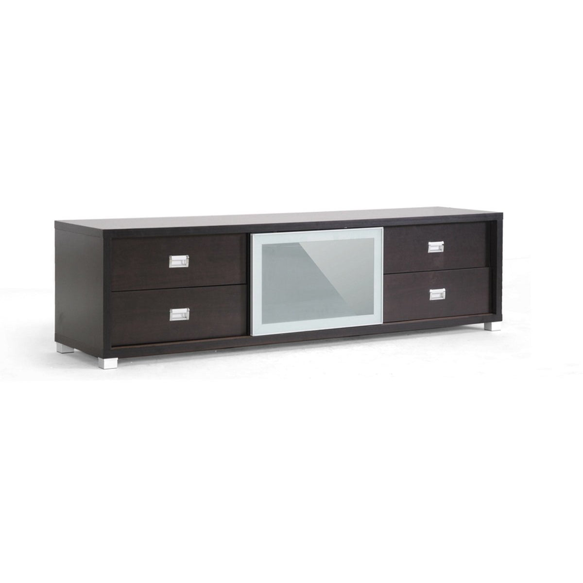 Baxton Studio Botticelli Brown Modern TV Stand with Frosted Glass Door Baxton Studio-TV Stands-Minimal And Modern - 1