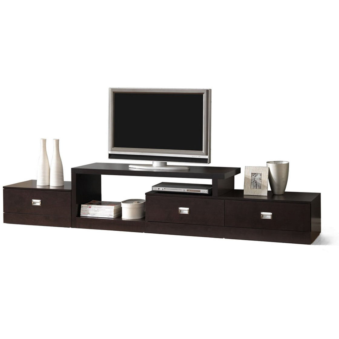 Baxton Studio Marconi Brown Asymmetrical Modern TV Stand Baxton Studio-TV Stands-Minimal And Modern - 1